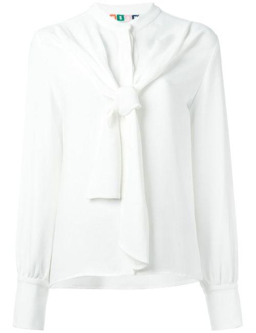 MSGM | Женская Белая Блузка С Завязкой На Бант