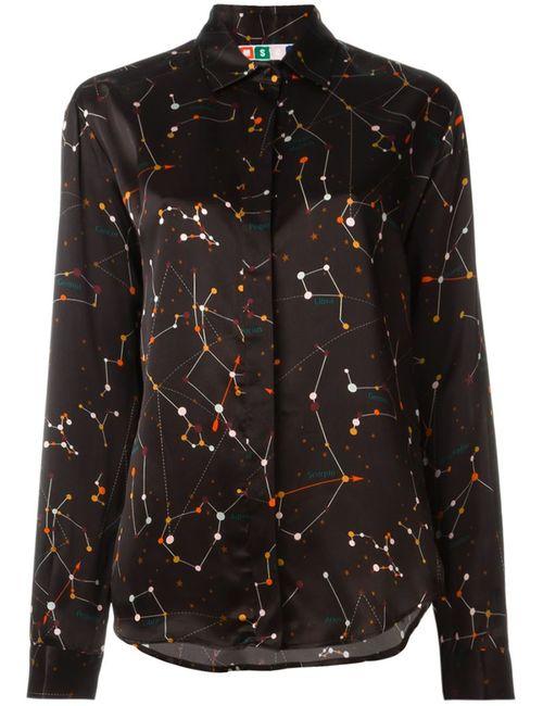MSGM | Женская Коричневая Рубашка С Принтом Созвездий