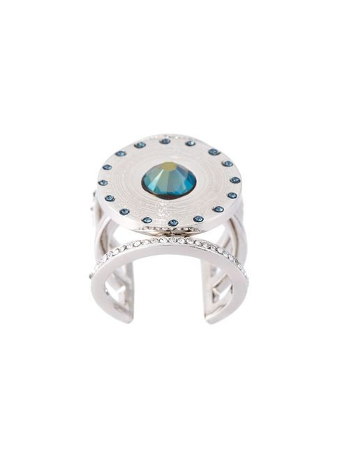 LEDA OTTO   Женское Серебристый Central Pyramid Stone Adjustable Ring