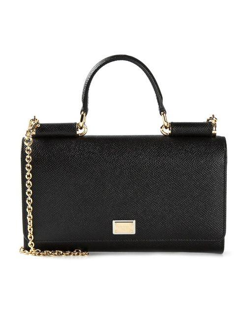 Dolce & Gabbana | Женская Чёрная Сумка-Бумажник Через Плечо Von