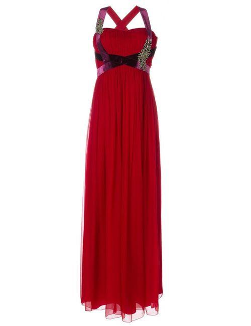 Alberta Ferretti | Женское Красное Декорированное Вечернее Платье