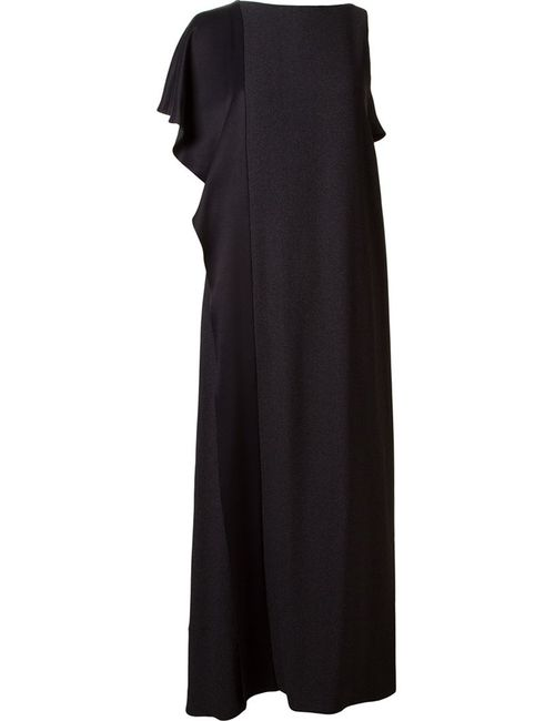 FERNANDA YAMAMOTO | Женское Чёрное Асимметричное Длинное Платье С Оборками