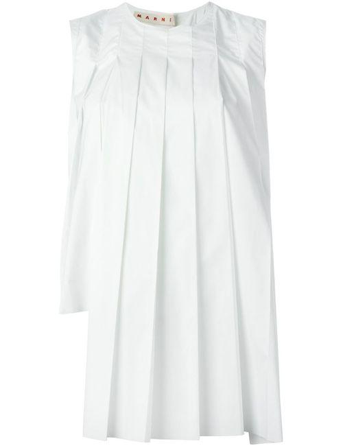 Marni   Женское Белый Pleated Sleeveless Top