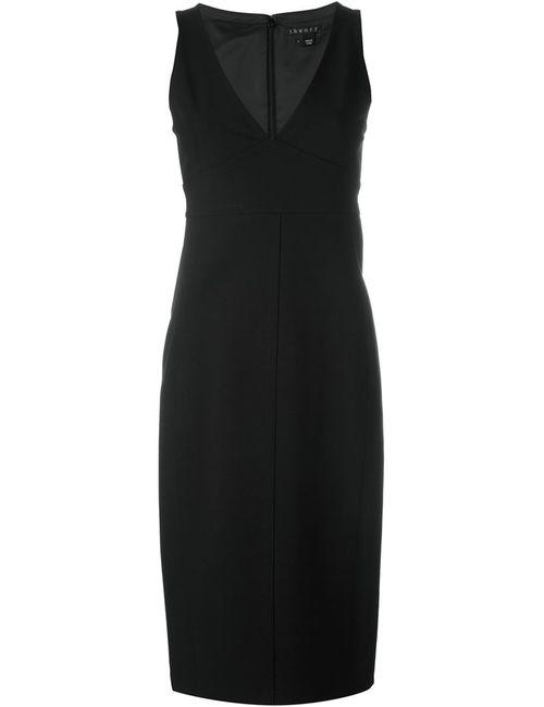 Theory | Женское Чёрный Fitted V Neck Dress