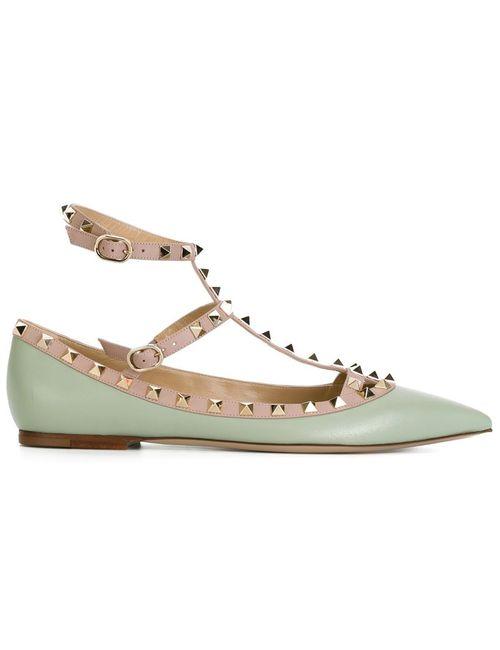 Valentino Garavani | Женское Зелёный Rockstud Ballerinas