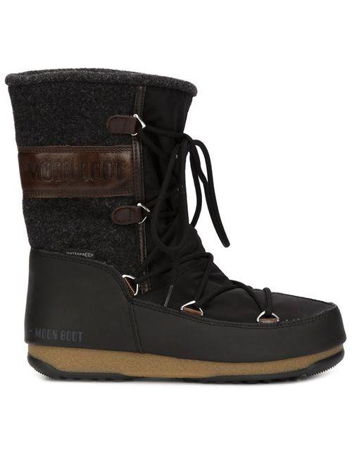 Moon Boot | Женские Чёрные Ботинки На Шнуровке