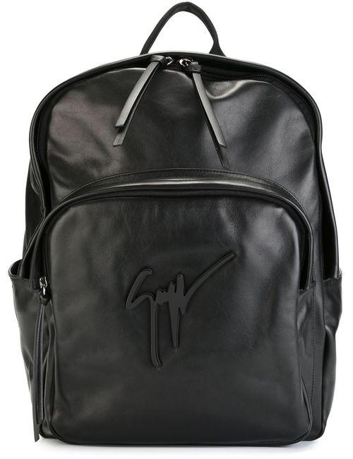 Giuseppe Zanotti Design   Мужской Чёрный Рюкзак С Подписью-Логотипом