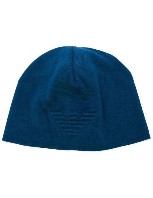 Emporio Armani | Мужская Синяя Шапка С Вышитым Логотипом