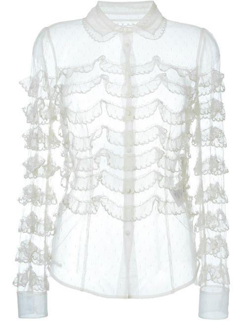 Red Valentino | Женская Nude & Neutrals Прозрачная Рубашка С Рюшами