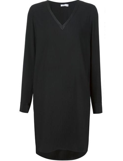 Vince | Женское Чёрное Платье С V-Образным Вырезом
