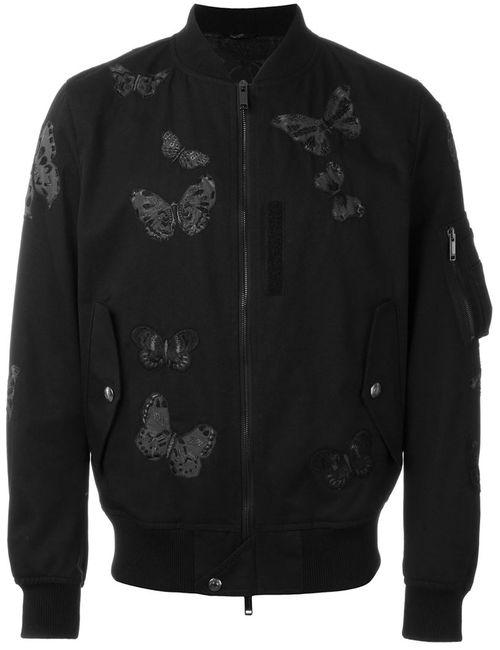 Valentino | Мужская Чёрная Куртка-Бомбер С Аппликацией Бабочек