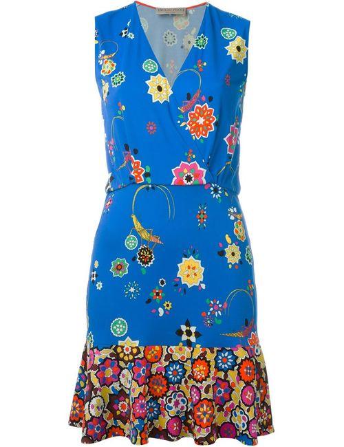 Emilio Pucci | Женское Синее Платье Без Рукавов С Цветочным Принтом