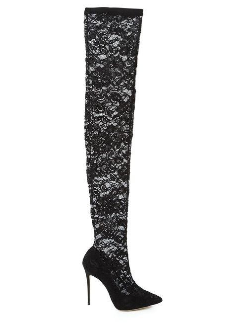 Dolce & Gabbana | Женские Чёрные Кружевные Ботфорты На Шпильке