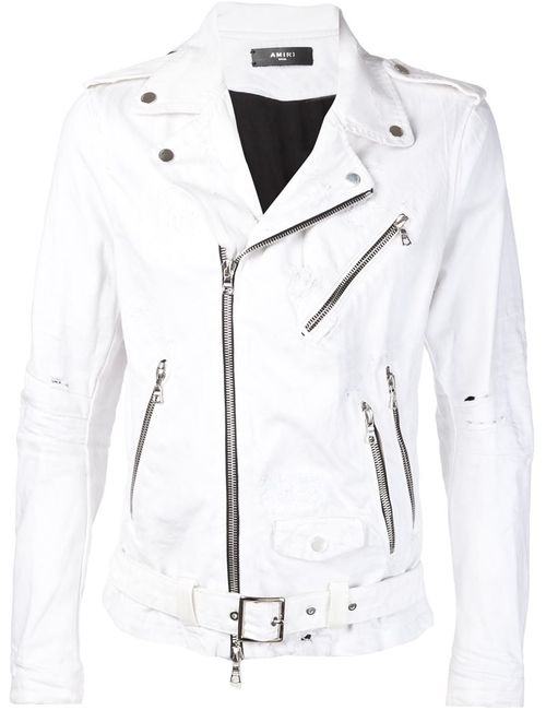 AMIRI | Мужская Белая Байкерская Куртка