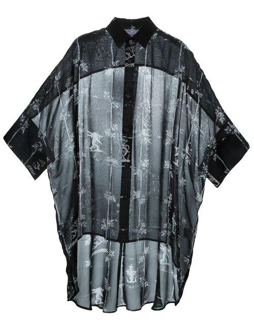 Y'S | Женская Чёрная Прозрачная Рубашка С Сетчатым Принтом