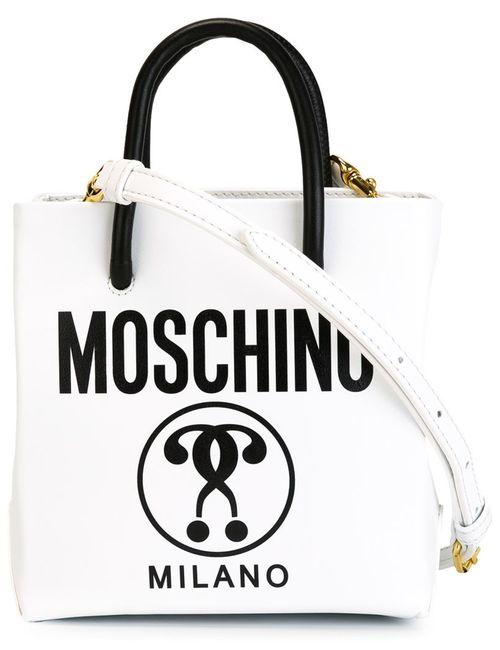 Moschino | Женская Белая Сумка-Тоут С Принтом
