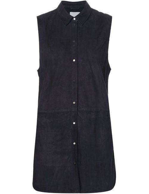Vince | Женская Синяя Замшевая Рубашка Без Рукавов