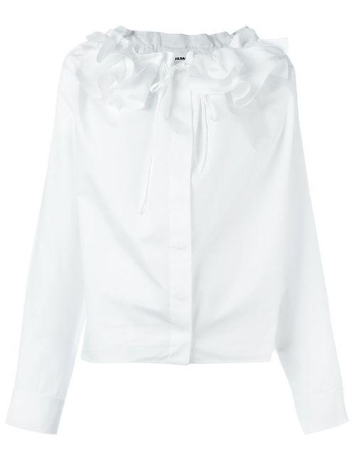 Jil Sander | Женская Белая Рубашка С Оборками