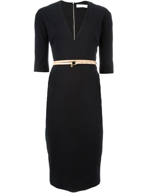 Victoria Beckham | Женское Чёрное Платье C V-Образным Вырезом