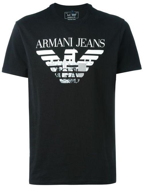 ARMANI JEANS | Мужская Чёрная Футболка С Принтом-Логотипом