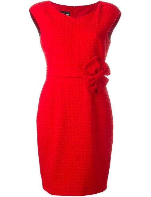 BOUTIQUE MOSCHINO | Женское Красное Приталенное Платье С Бантом