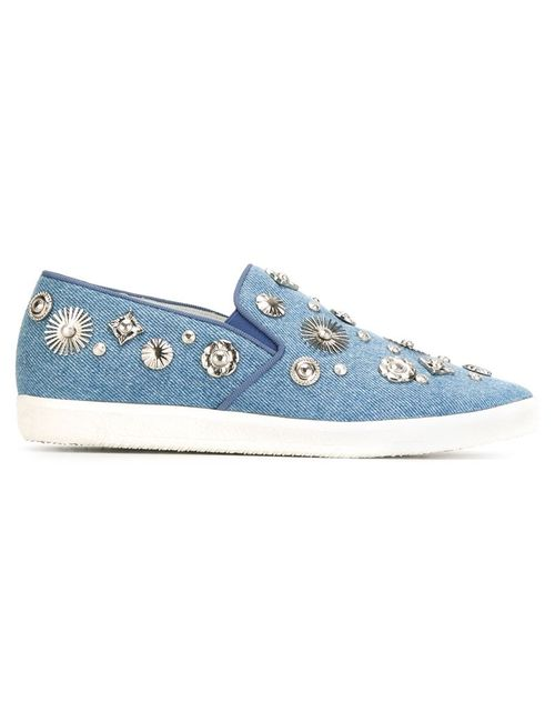 Toga | Женские Синие Декорированные Кеды-Слипон