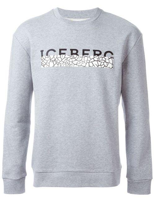 ICEBERG | Мужская Серая Толстовка С Принтом Логотипа