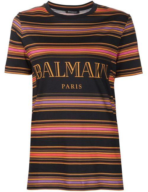 Balmain | Женская Чёрная Полосатая Футболка С Логотипом