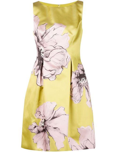 Lela Rose | Женское Жёлтое Расклешенное Платье С Цветочным Принтом