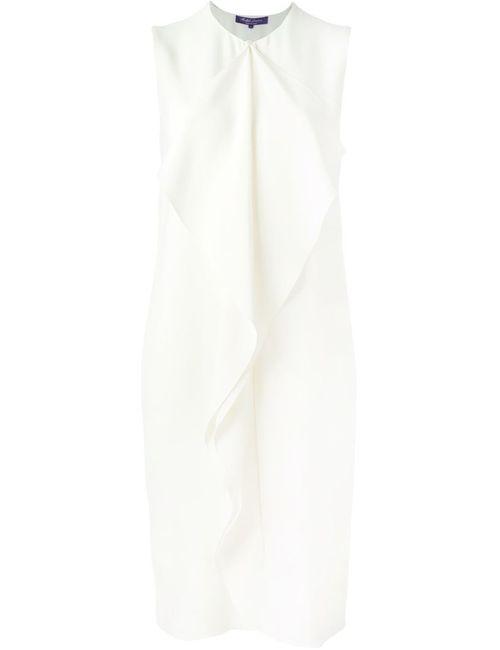 Ralph Lauren | Женское Белое Платье Без Рукавов С Оборками