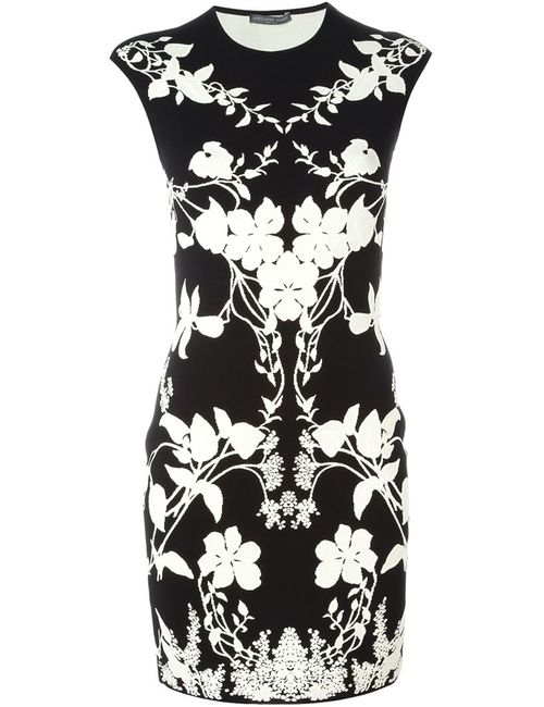 Alexander McQueen   Женское Чёрное Мини-Платье С Цветочным Принтом