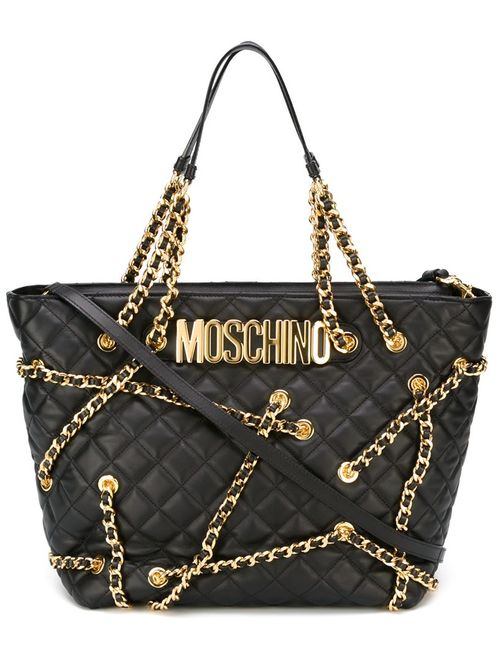 Moschino | Женская Чёрная Сумка-Тоут С Цепочной Отделкой