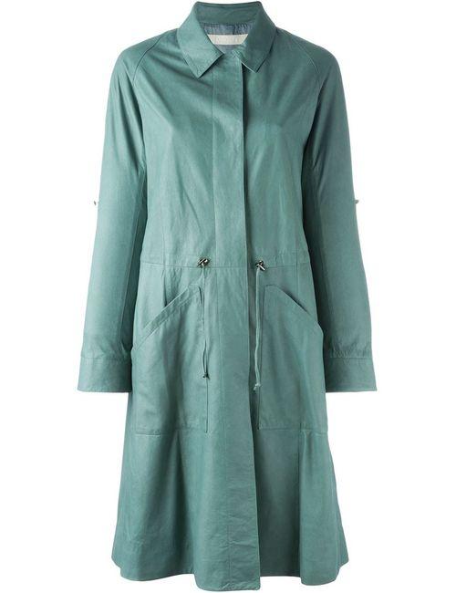 Drome | Женское Зелёное Кожаное Пальто