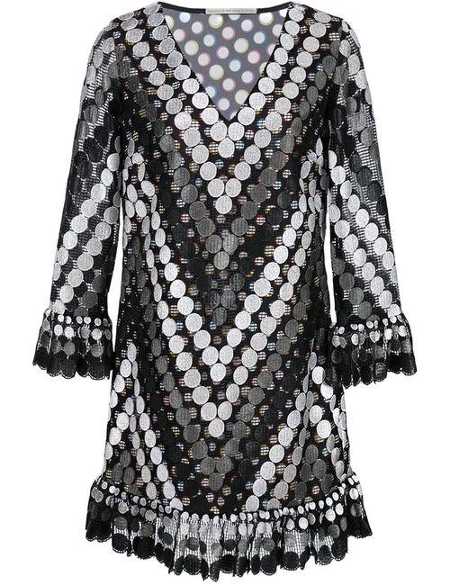 Marco De Vincenzo | Женское Чёрное Платье Шифт С Вышивкой