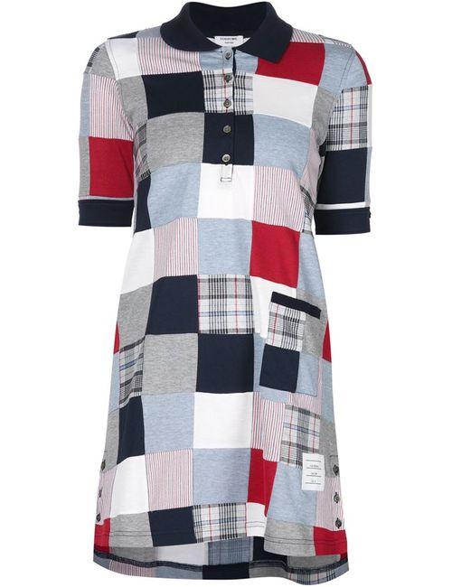 Thom Browne | Женское Синее Лоскутное Платье-Рубашка