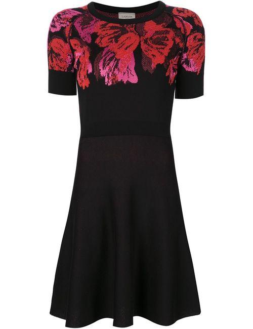 Lanvin | Женское Чёрное Платье Скейтер С Цветочным Принтом