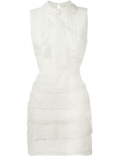 Red Valentino | Женское Белое Кружевное Платье С Оборками