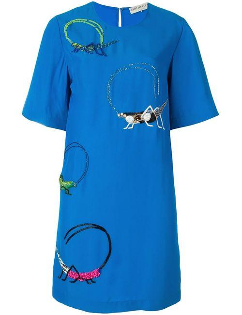 Emilio Pucci | Женское Синее Декорированное Платье-Шифт