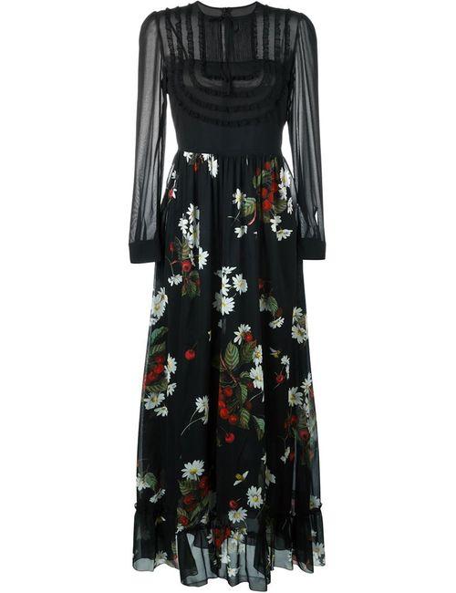 Red Valentino | Женское Чёрное Длинное Расклешенное Платье