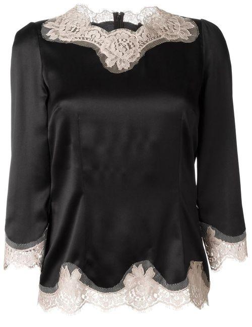 Dolce & Gabbana | Женская Чёрная Блузка С Кружевной Отделкой
