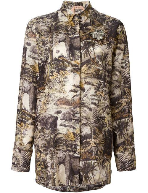 No21 | Женская Многоцветная Рубашка С Принтом Джунглей