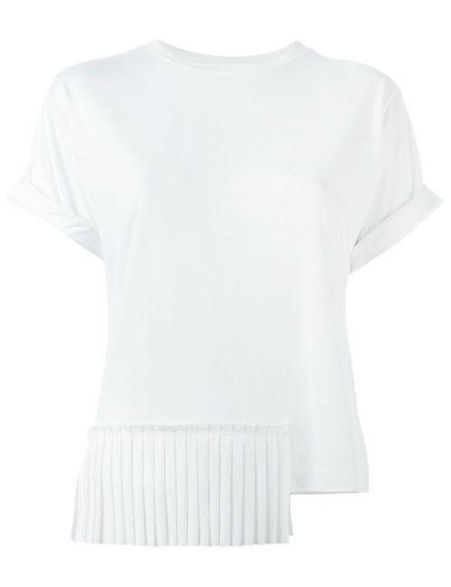 MM6 by Maison Margiela | Женская Белая Асимметричная Плиссированная Футболка