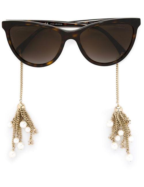 Chanel Vintage   Женские Коричневые Солнцезащитные Очки Pearl