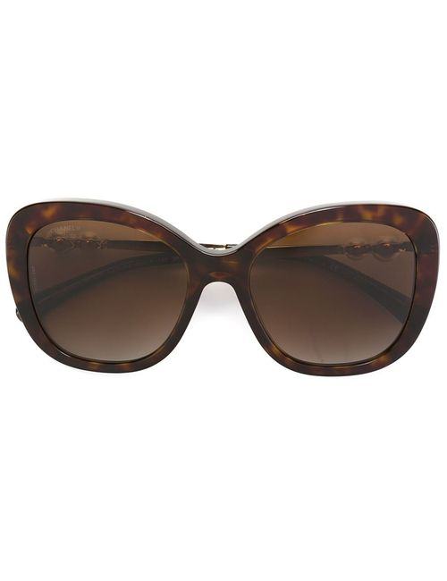Chanel Vintage   Женские Коричневые Солнцезащитные Очки С Жемчужинами
