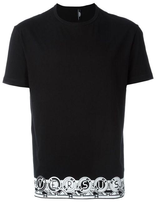Versus | Мужская Чёрная Футболка С Принтом Логотипа На Подоле