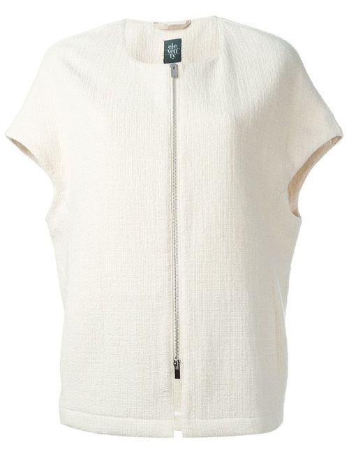 Eleventy | Женская Белая Куртка С Короткими Рукавами На Молнии
