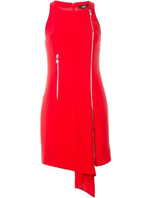 Versus | Женское Красное Драпированное Платье С Застежкой-Молнией