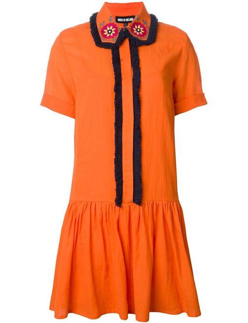 House Of Holland | Женское Жёлтое Платье-Рубашка С Вышитым Воротником