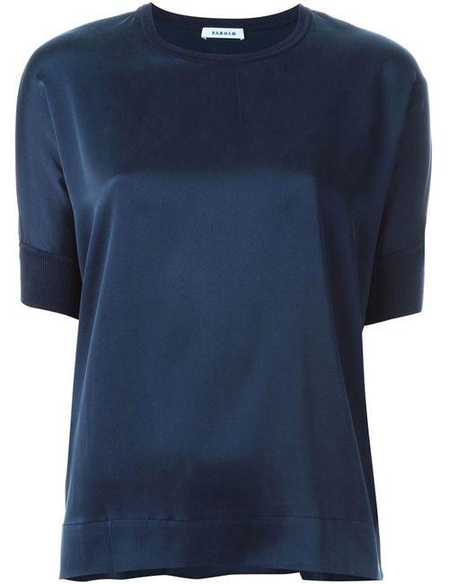 P.A.R.O.S.H. | Женская Синяя Блузка С Короткими Рукавами