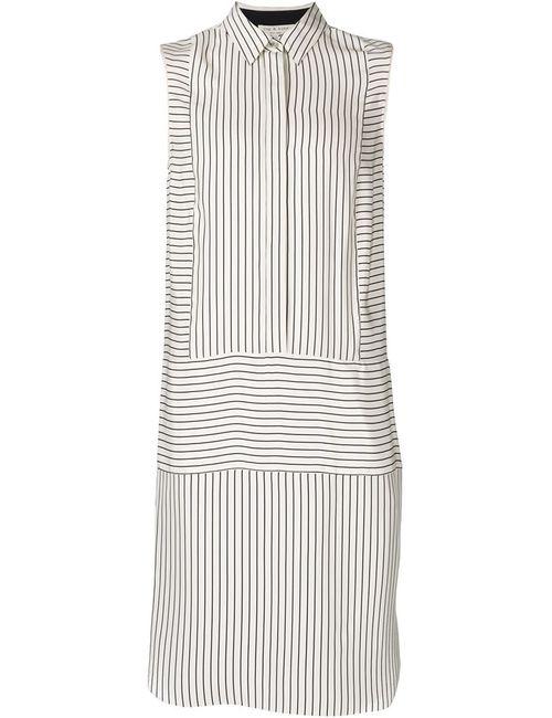 Rag & Bone   Женское Белое Полосатое Платье-Рубашка Без Рукавов